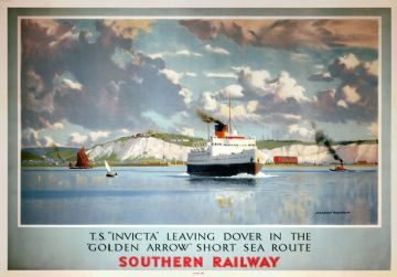 TS Invicta leaving Dover, Southern Railways Poster by Norman Wilkinson, 1946
